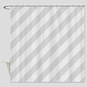 Pastel Gray Diagonal Stripes Shower Curtain