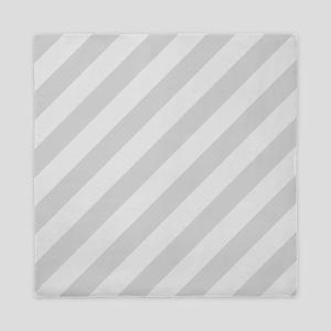 Pastel Gray Diagonal Stripes Queen Duvet