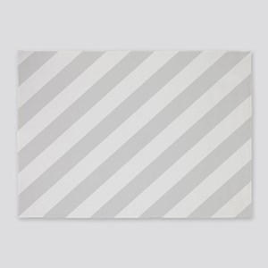Pastel Gray Diagonal Stripes 5'x7'Area Rug