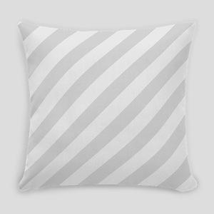 Pastel Gray Diagonal Stripes Everyday Pillow