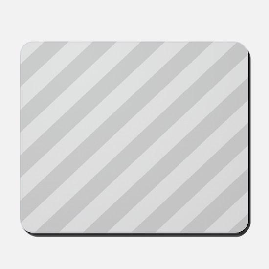Pastel Gray Diagonal Stripes Mousepad