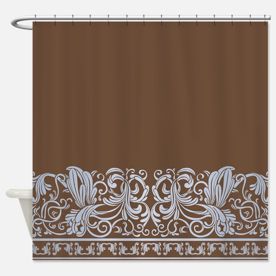 Chocolate Light Blue Damask Shower Curtain