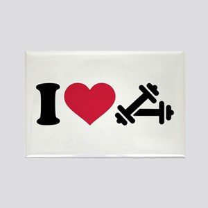 I love barbell dumbbell Rectangle Magnet
