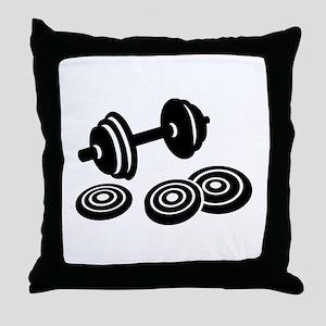 Barbell Dumbbell Throw Pillow