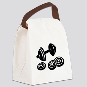 Barbell Dumbbell Canvas Lunch Bag