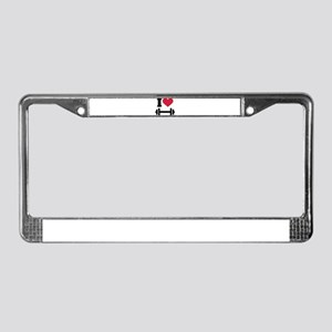 I love barbell dumbbell License Plate Frame