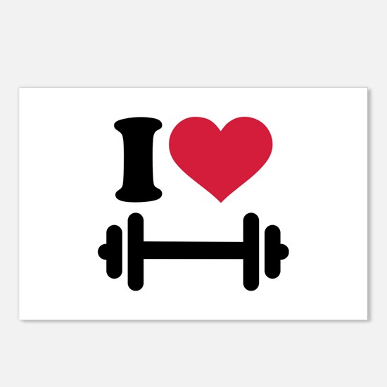 I love barbell dumbbell Postcards (Package of 8)