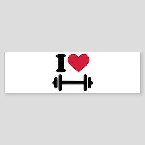 I love barbell dumbbell Sticker (Bumper)