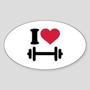 I love barbell dumbbell Sticker (Oval)