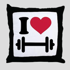 I love barbell dumbbell Throw Pillow