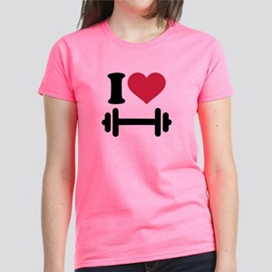 I love barbell dumbbell Women's Dark T-Shirt
