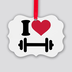 I love barbell dumbbell Picture Ornament