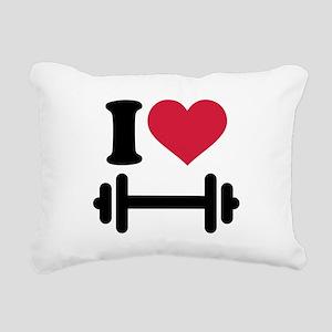 I love barbell dumbbell Rectangular Canvas Pillow