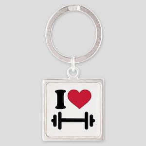 I love barbell dumbbell Square Keychain
