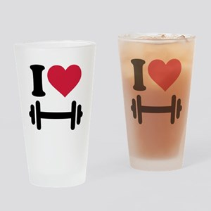 I love barbell dumbbell Drinking Glass