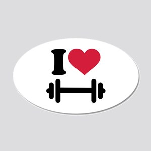 I love barbell dumbbell 20x12 Oval Wall Decal