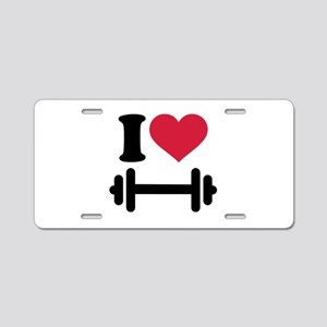 I love barbell dumbbell Aluminum License Plate