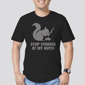 Stop Staring At My Nuts! Men's Fitted T-Shirt (dar