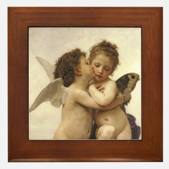 Exquisite First Kiss Angels Framed Tile
