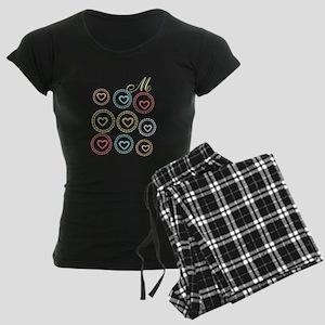 Cute Hearts Monogram Women's Dark Pajamas