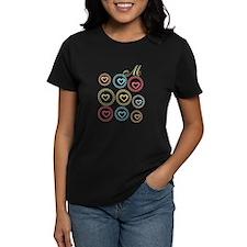 Cute Hearts Monogram Women's Dark T-Shirt