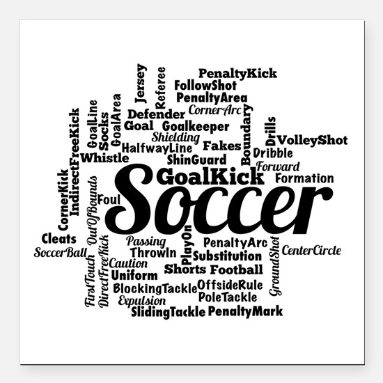 "Soccer Word Cloud Square Car Magnet 3"" x 3"""