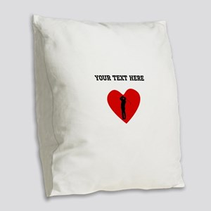 Golfer Heart (Custom) Burlap Throw Pillow