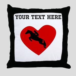 Equestrian Horse Heart (Custom) Throw Pillow