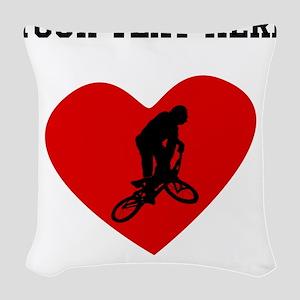BMX Biker Heart (Custom) Woven Throw Pillow
