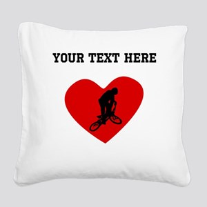 BMX Biker Heart (Custom) Square Canvas Pillow