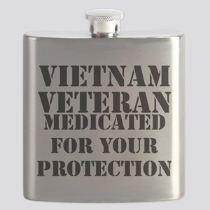 Vietnam Veteran Medicated For Your Protectio Flask