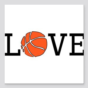 "Basketball Love Square Car Magnet 3"" x 3"""