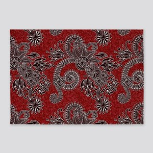Red country floral 5'x7'Area Rug