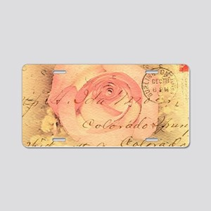 Old postcard with a rose Aluminum License Plate