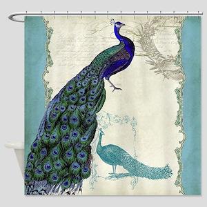Vintage Peacock Etchings Scroll Swi Shower Curtain