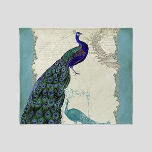 Vintage Peacock Etchings Scroll Swir Throw Blanket