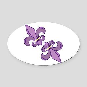Fleur De Lis Oval Car Magnet