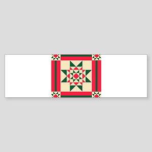 Christmas Star Quilt Block Red Gree Bumper Sticker