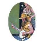 New Orleans Art Bajo Player Oval Ornament