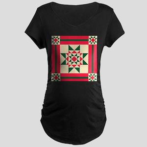 Christmas Star Quilt Block Red G Maternity T-Shirt