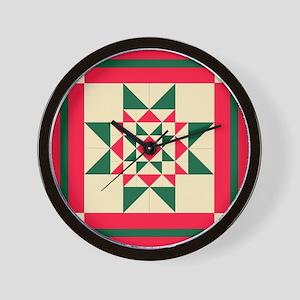 Christmas Star Quilt Block Red Green an Wall Clock