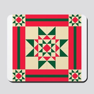 Christmas Star Quilt Block Red Green and Mousepad