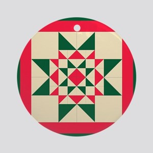 Christmas Star Quilt Block Red Gr Ornament (Round)