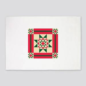 Christmas Star Quilt Block Red Gree 5'x7'Area Rug
