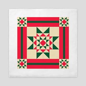 Christmas Star Quilt Block Red Green a Queen Duvet