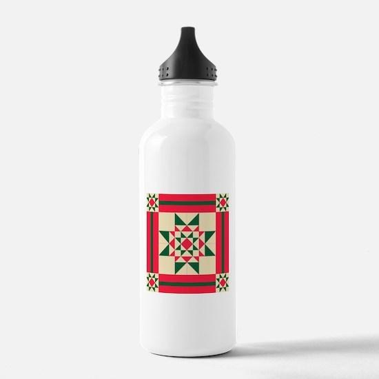 Christmas Star Quilt B Water Bottle
