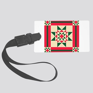 Christmas Star Quilt Block Red G Large Luggage Tag