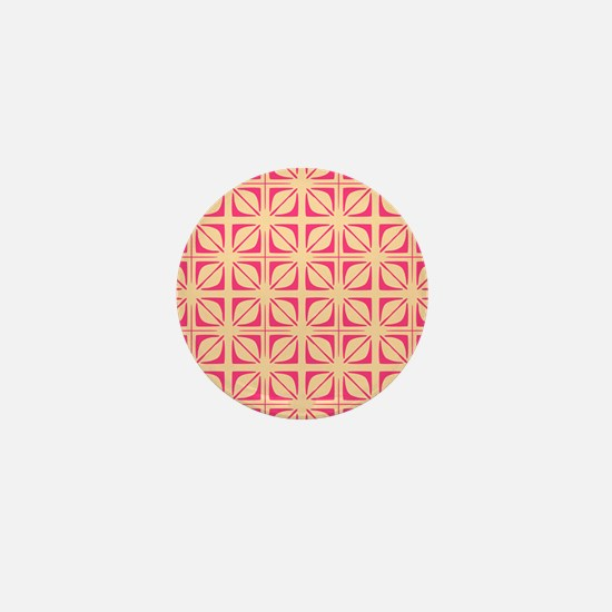 Abstract Geometric Leaf Floral Squares Mini Button