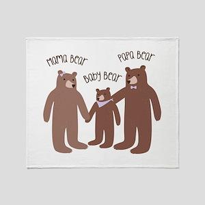 A Bear Family Throw Blanket