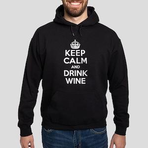 Keep Calm and Drink Wine Hoodie (dark)